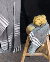 Small Contemporary Towel With Stripes On Ends (Charcoal)
