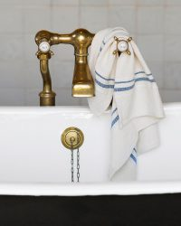 Small Country Towel With Variegated Stripes (Denim)