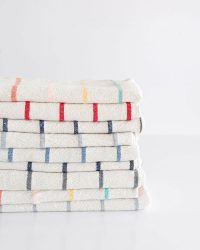 Large Country Towel With Stripes Throughout (Grey)