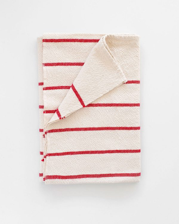 Large Country Towel With Stripes Throughout (Red)