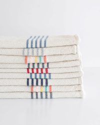 Large Country Towel With Stripes On Ends (Denim)