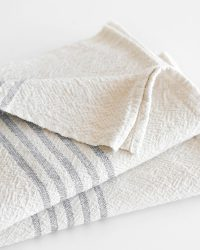 Large Country Towel With Stripes On Ends (Grey)