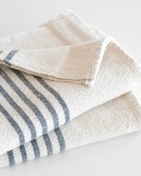 Large Country Towel With Stripes On Ends (Charcoal)