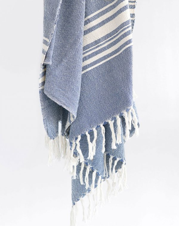 Large Contemporary Towel With Variegated Stripes (Indigo)