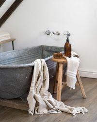 Large Contemporary Towel With Variegated Stripes (Stone)