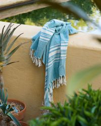 Large Contemporary Towel With Variegated Stripes (Teal)
