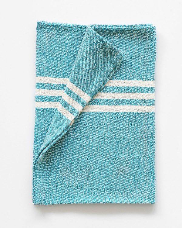 Small Contemporary Towel With Stripes On Ends (Teal)