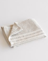 Small Contemporary Towel With Stripes On Ends (Stone)