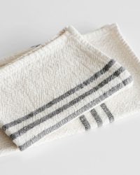 Small Country Towel With Stripes On Ends (Charcoal)