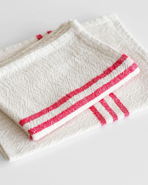 Small Country Towel With Stripes On Ends (Red)