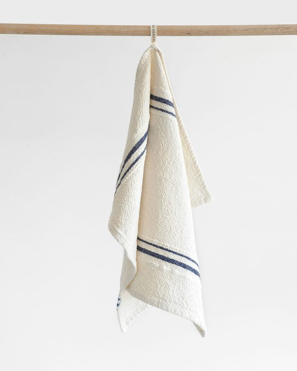 Small Country Towel With Variegated Stripes (Navy)