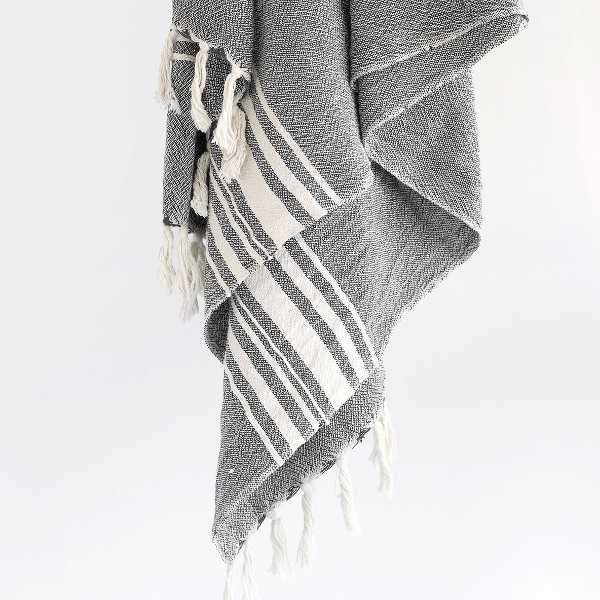Large Contemporary Towel With Variegated Stripes