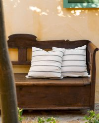 Country Cushion Cover With Stripes Throughout (Charcoal)
