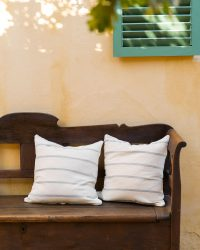 Country Cushion Cover With Stripes Throughout (Grey)