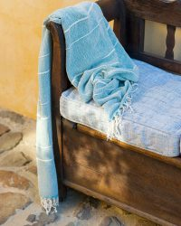 Contemporary Throw With Variegated Stripes (Teal)