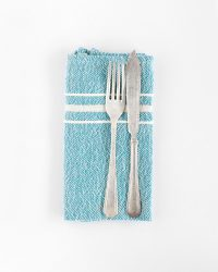 Contemporary Napkin with Variegated Stripes (Teal)