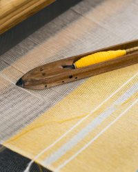 Contemporary Napkin with Variegated Stripes (Yellow)
