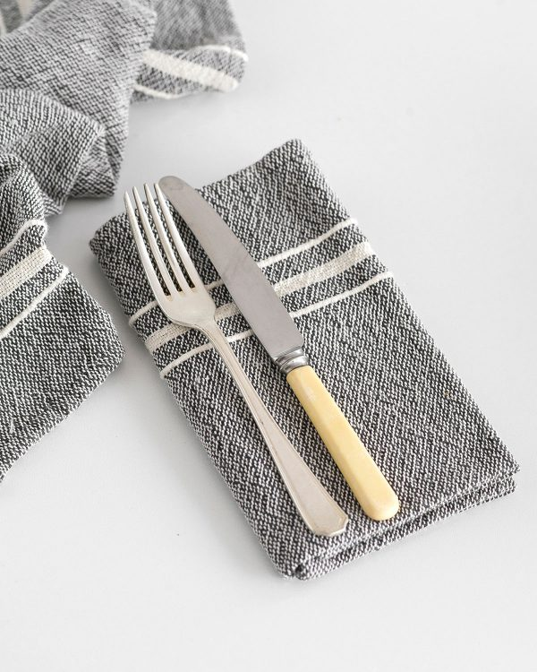 Contemporary Napkin with Variegated Stripes (Charcoal)