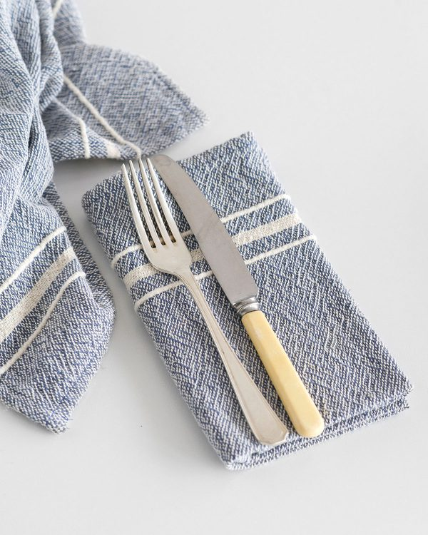 Contemporary Napkin with Variegated Stripes (Indigo)