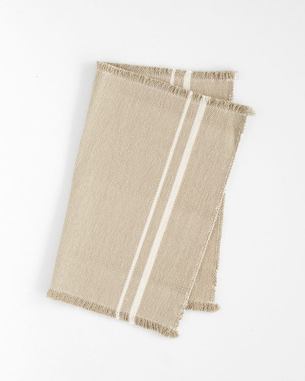 Contemporary Placemat With Stripes On Ends (Stone)