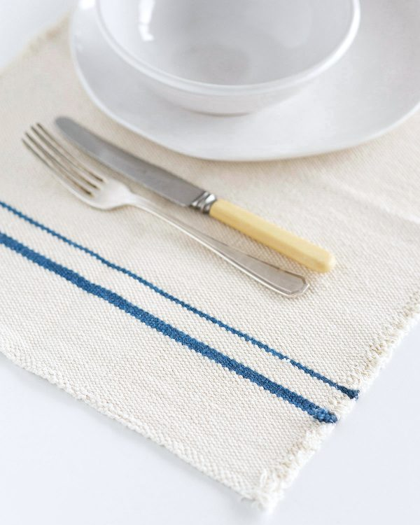 Country Placemat With Stripes On Ends (Denim)