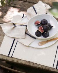 Country Placemat With Stripes On Ends (Navy)