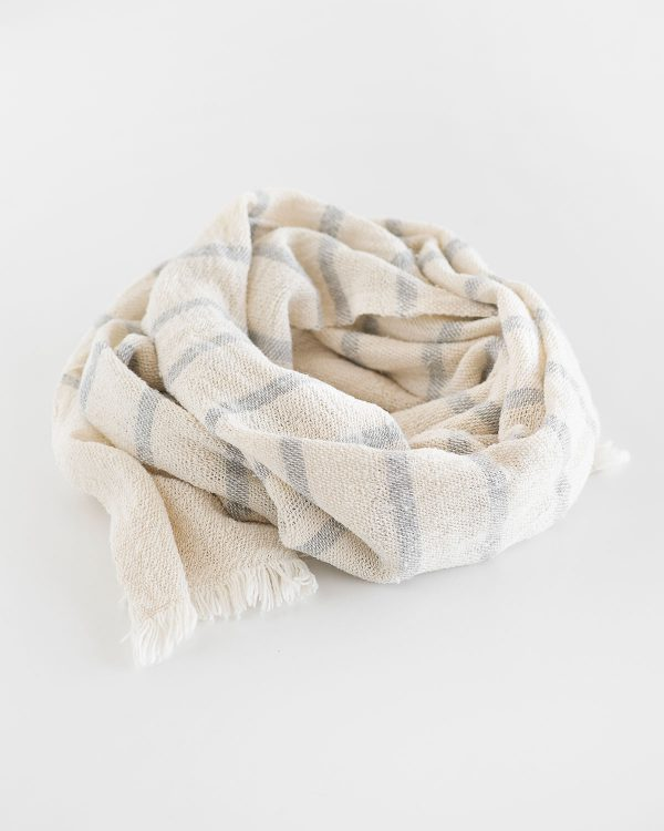 Country Scarf With Stripes Throughout (Grey)