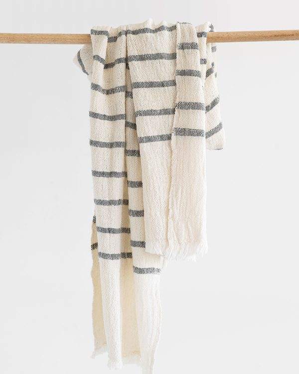 Country Scarf With Stripes Throughout (Charcoal)