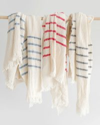 Country Scarf With Stripes On Ends (Natural)