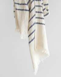 Country Scarf With Stripes On Ends (Navy)