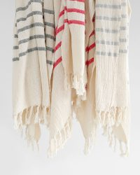 Country Shawl With Stripes Throughout (Navy)