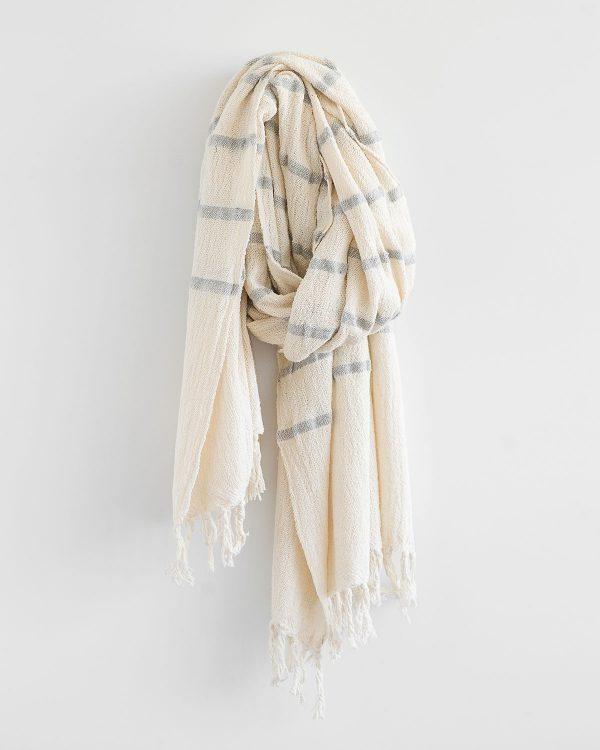 Country Shawl With Stripes Throughout (Grey)
