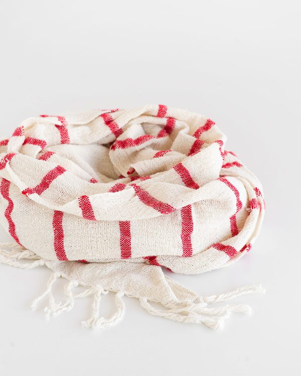 Country Shawl With Stripes Throughout (Red)