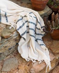 Country Shawl With Stripes Throughout