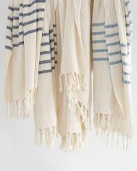 Country Shawl With Stripes On Ends (Denim)