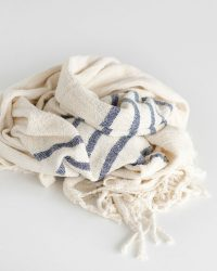 Country Shawl With Stripes On Ends (Navy)