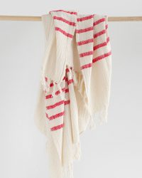 Country Shawl With Stripes On Ends (Red)