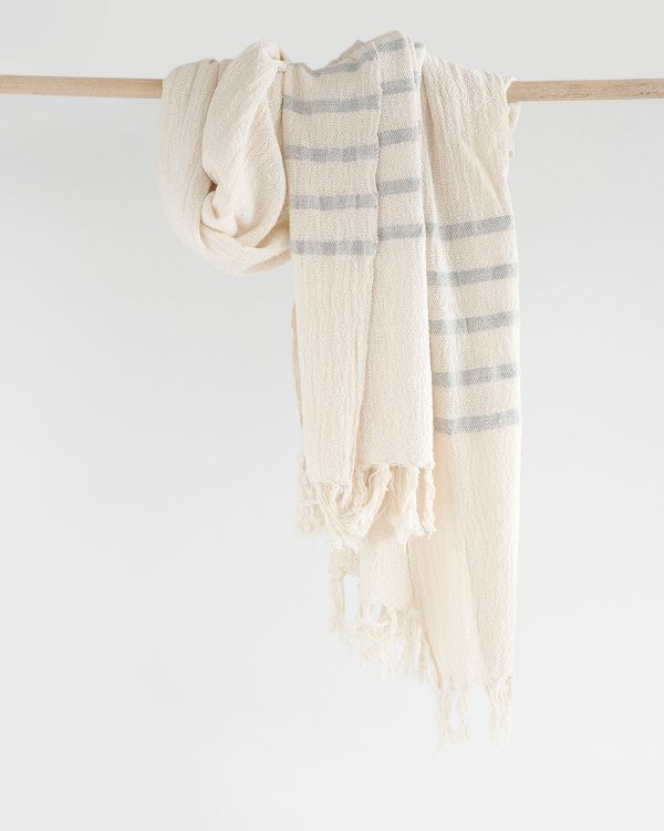 Country Shawl With Stripes On Ends (Grey)