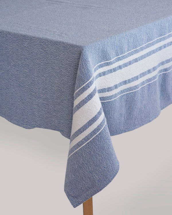Contemporary Table Cloth With Variegated Stripes (Indigo)