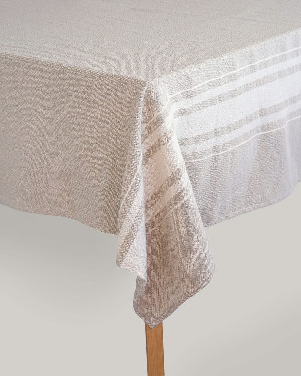 Contemporary Table Cloth With Variegated Stripes (Stone)