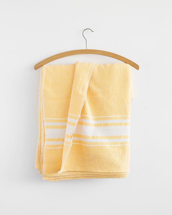 Contemporary Table Cloth With Variegated Stripes (Yellow)
