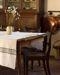 Country Table Cloth With Stripes On Ends (Charcoal)