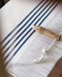 Country Table Cloth With Stripes On Ends (Navy)