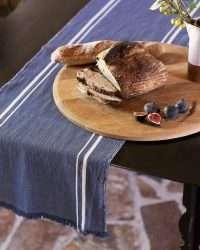 Contemporary Table Runner With Stripes (Indigo)