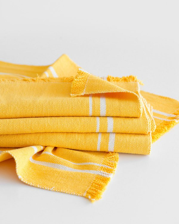 Contemporary Table Runner With Stripes (Yellow)