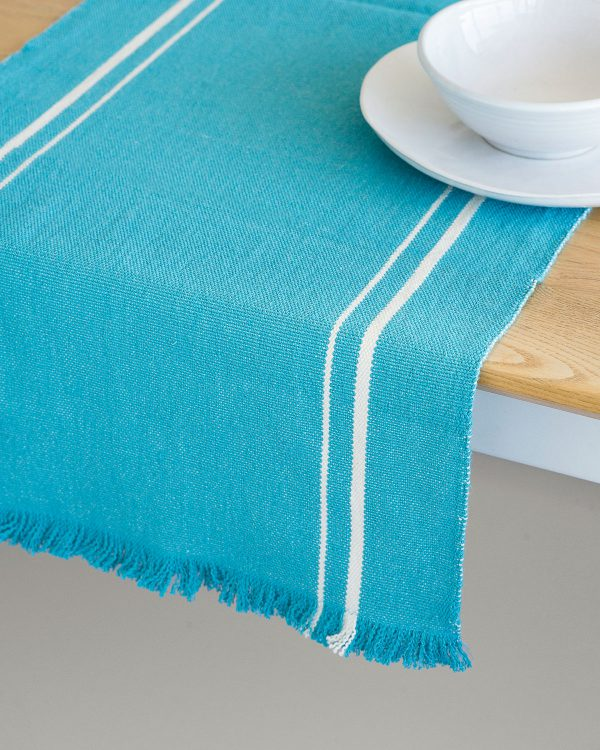 Contemporary Table Runner With Stripes (Teal)