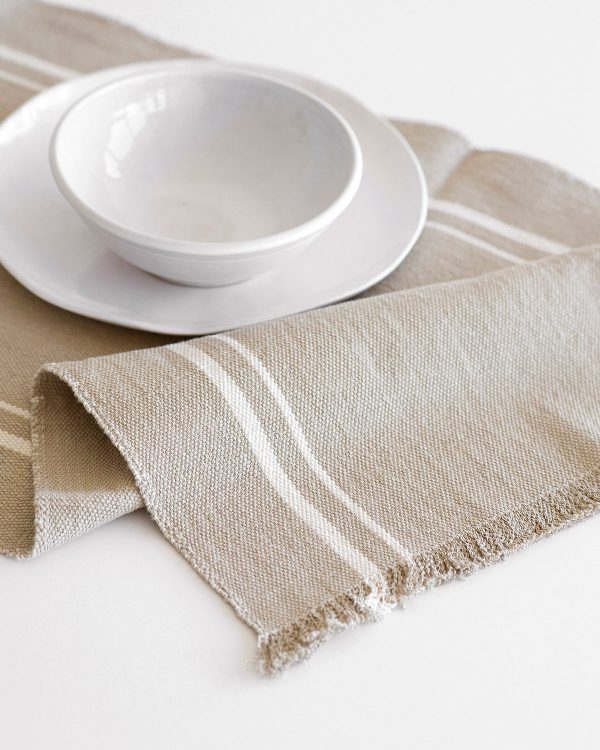 Contemporary Table Runner With Stripes (Stone)