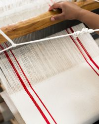 Country Table Runner With Stripes (Red)