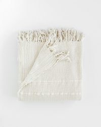 Contemporary Throw With Variegated Stripes (Natural)