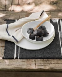 Contemporary Placemat With Stripes On Ends (Charcoal)